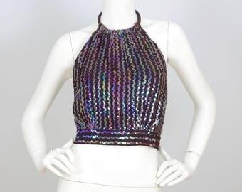 1970's Vintage Ultimate Glam Rock Iridescent Sequin Brown Halter Top Sz XS
