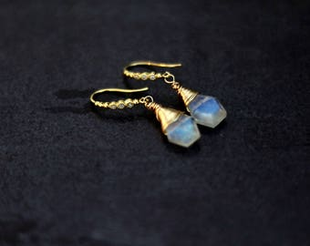 Gold Rainbow Moonstone Drop Earrings Wedding Bridal jewelry VitrineDesigns