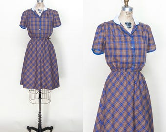 Vintage 1970s Plaid Day Dress Small Medium