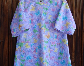 SIZE 6-8 The Mama San Mamasan Kappogi Full Coverage Smock Apron - Butterflies on Lavender Print - Size X-Small (6-8)