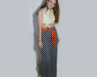 1970 - 80's Vintage Jumpsuit Navy & White Polka Dots Red Sash Beach Party Label