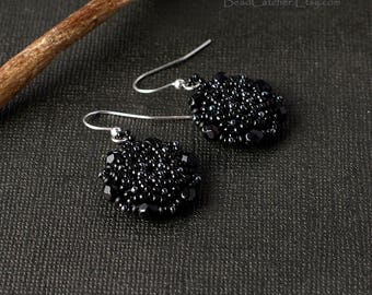 Black Mandala Star Beadwoven earrings