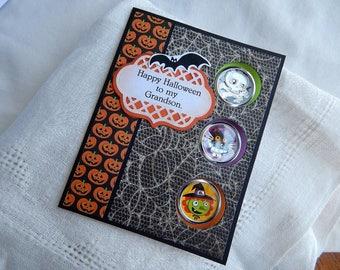 Handmade Halloween Card:  grandson, greeting card, multi color, handmade envelope, cats,complete card, handmade, balsampondsdesign