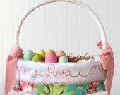 Easter Basket Personalized Girl fits Pottery Barn Kids Baskets, Monogrammed Name Easter Basket Liner Coral Love Floral