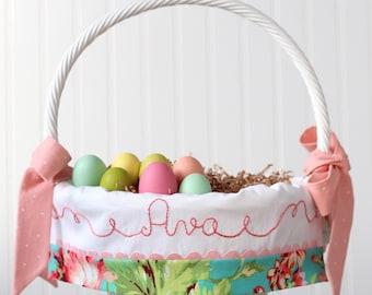 PRE-ORDER 2019 Easter Basket Personalized Girl fits Pottery Barn Kids Baskets, Monogrammed Name Easter Basket Liner Coral Love Floral