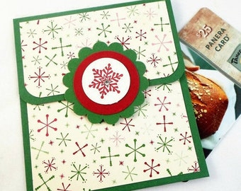 Holiday Gift Card Holder - Holiday Tip Envelope - Christmas Money Card - Red and Green Snowflake Card