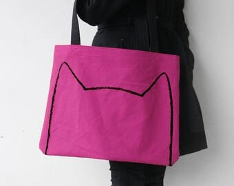 Over-sized Pink Cat Tote Bag, cat lover gift, market bag, cat lady gift for her, funny tote bag, cat lady gift, cat ear grocery shopping bag