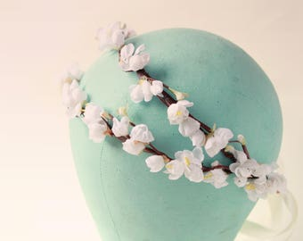 Double bridal headpiece, Cherry blossom hair accessory, White flower crown, Floral wedding headpiece, Bridal flower headpiece
