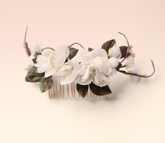 Leaf white flower comb, Cherry blossom headpiece, Unique vintage hair comb, Flower hair clip, Bridal flower hair, White branch floral comb