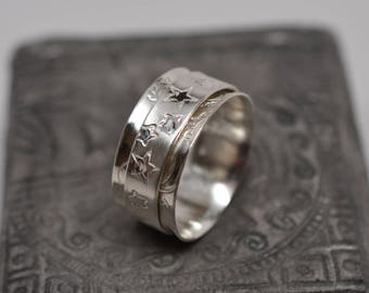 Sun, moon & stars textured dual finish celestial solid sterling silver spinner ring