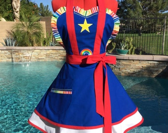 Sassy Apron with Petticoat, Womens Misses and Plus SIzes, Comicon Costume Apron, Pin Up, Rainbow Bright  inspired Apron