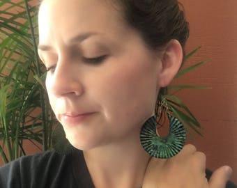 Patina Crescent Fan large statement Earrings