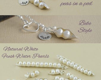 pea pod necklace, 2 peas in a pod, twin sister, sterling silver, mother bride, sister necklace, sister of bride, best friend, 123456789, 10