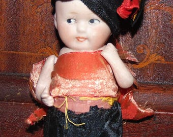 Antique All Bisque Character Doll, tlc