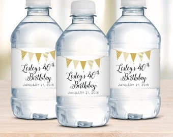Water Bottle Labels, Birthday Decoration, Birthday Water Bottle Label, Party Decoration, Personalized Labels, Party Water Bottle Label