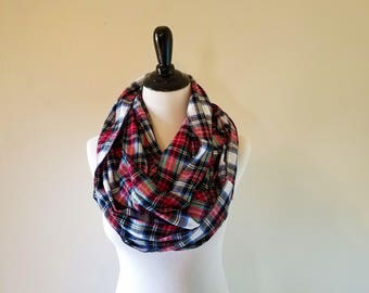 Infinity Scarf - Plaid Infinity Scarf - Flannel Scarf - Women's Scarf - Gift for Her - Red Plaid Scarf