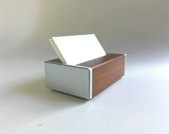 Business Card Holder in Metal and Recycled Wood - Office Decor - Industrial - Dark Wood