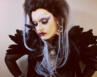 Drama Queen Victorian Gothic Black Shrug Goose Feathers Ornament Vampire Collar Glamour Handmade Sparkle Stole Lady Gaga Capelet Maleficent