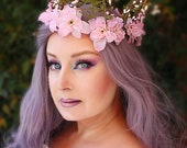 Forest Fantasy Crown with Pink Flowers, Flower Crown, Floral Crown, Butterfly Crown, Headpiece, Fairy, Renaissance, Costume