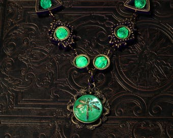 Steampunk Necklace with Uranium Vaseline Glass with dragons and dragonfly