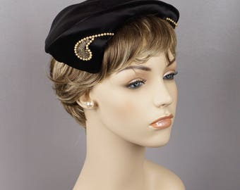 1950s Vintage  Hat Black Satin Cocktail Toque with Pearl Accents by Louise
