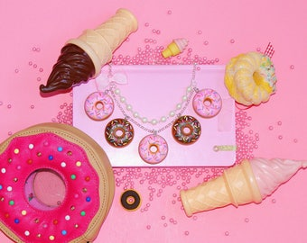 Donut Necklace, Doughnut Statement Necklace, Pink Donut Pendant, Chocolate Donut Charm, Kawaii Necklace, Food Jewelry