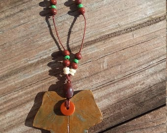 Ivy Leaf Necklace with Brown Wooden Beads