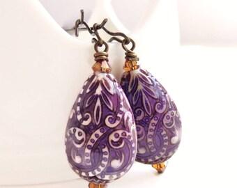 Hazel -purple paisley drop earrings - color changing mood bead earrings - bohemian style earrings