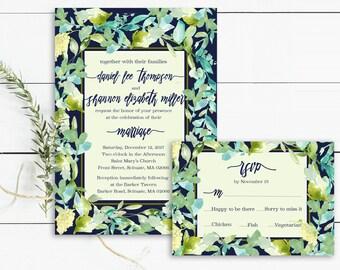 Printable Wedding Invitations 5x7, Watercolor, Greenery, Watercolor Invitation, Wedding rsvp, Wedding Invitation, 5x7, Wedding Invite