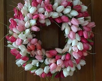 Shades of Pink Tulip Wreath - Spring Tulip Wreath - Door Wreath