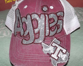 Aggies, Texas A&M Appliqued Embroidered Hat, Monogrammed Back, Baseball, Cap, Trucker Cap