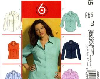 McCall's M5145 Blouse Top Shirt Button Front Princess Seams Size 18W 20W 22W 24W Uncut Sewing Pattern 2006