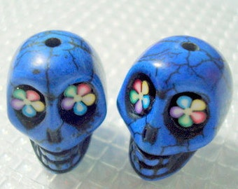 Bright Color Flower Eyes Cobalt Blue Howlite 18mm Sugar Skull Beads