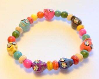 Rainbow Day of the Dead Sugar Skull Stretchy Bracelet