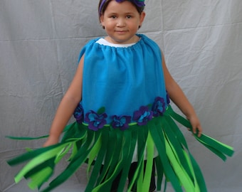Kids Costume Hula Girl Costume Hawaii Hawaiian Girl Costume Toddler Baby Costume Womens Costume Luau Baby GIrl Halloween Costume Grass Skirt