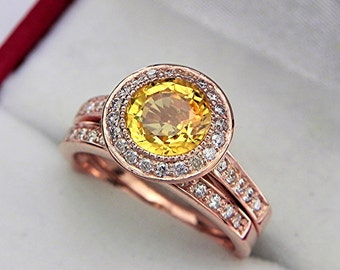 AAAA Yellow Sapphire 7.0mm  1.54 Carats   14K Rose gold bridal set with .35cts of diamonds. 0502