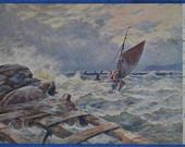 A Choppy Sea In Squally Weather Great Britain Tuck Postcard 1904