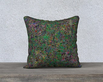 Velveteen Throw Pillow Cover in Tiny Green and Multi Color Asymmetrical Mosaic Tile Print
