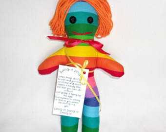 Stress Relief Doll DAMMIT or DANG IT Rainbow Stripes with Orange Hair