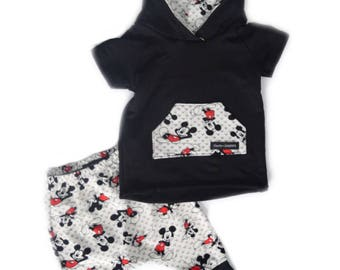 Mickey Sweatshirt and Harem Shorts - Mickey Mouse outfit - Disney Outfit - Mickey Hoodie