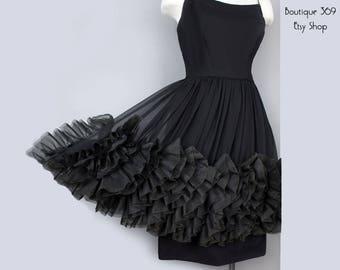 1960's Little Black Dress with Ruffled Chiffon - S/M