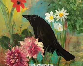 Thursday's Crow original painting complimentary usa shipping
