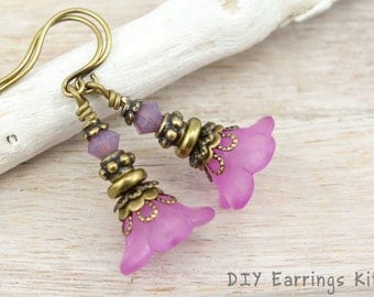 DIY JEWELRY KIT - Antique Brass Earrings Do It Yourself Lucite Flower Jewelry Orchid Purple Earrings Bronze Jewelry Beaded Flower Earrings