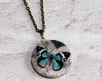 Butterfly Locket Necklace, Blue Butterfly Necklace, Animal Jewelry