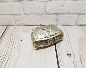 Vintage Silver Toned Ornate Footed Trinket Box