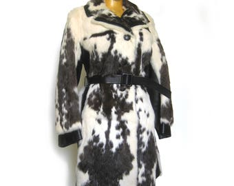 Vintage 60s 70s MOD Rabbit Fur and Leather Coat / Pony Coat / Belted Winter Coat / Size SMALL