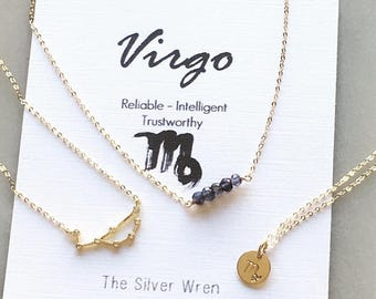 Zodiac Gifts, Virgo Zodiac, Virgo Necklace, Zodiac Jewelry, September Birthstone Necklace, September Birthday Gift, Constellation Necklace