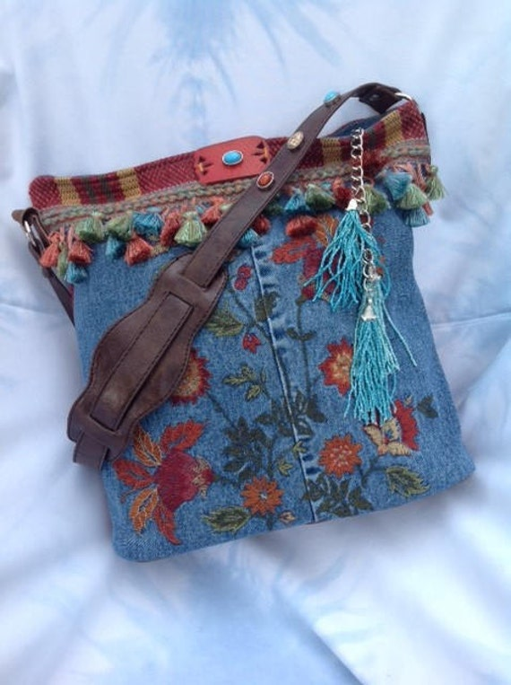 Embroidered Denim and Leather Bohemian Hippie Shoulder Bag