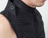 Crisiswear Verge Harness - Cyberpunk Steampunk Black Chest Vest Military Style Industrial Tech Fashion Double Collar Metal Accents Raider