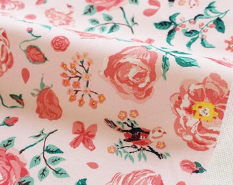 "1/2 YD-Nathalie Lete Design Fabric-cotton-""Romantic lake"""
